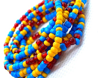 Blue, Yellow and Red Mix Tie On Waist Beads, Waist Beads, Belly Beads, Belly Chain, Body Jewelry