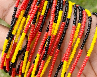 Red, Yellow & Black Color Block Removable Screw On Waist Beads