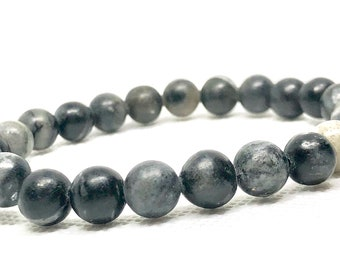 "Black Network Bracelet Size 7.5"", Unisex Bracelet, Stacking Bracelet, Stretch Bracelet, Beaded Bracelet, His Or Hers, Bracelets, Jewelry"