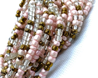 Pearl Pink, Bronze and Clear Tie On Waist Beads, Waist Beads, Belly Beads, Belly Chain, Body Jewelry