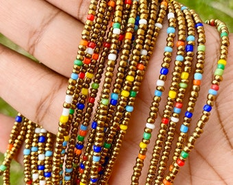 Bronze and Rainbow Removable Screw On Waist Beads