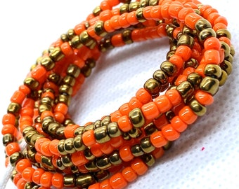 Orange and Rustic Tie On Waist Beads, Waist Beads, Belly Beads, Belly Chain, Body Jewelry