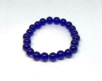 "Blue Bracelet, Blue Glass Bracelet, Size 8"", Stretch Bracelet, Stacking Bracelet, Statement Bracelet"