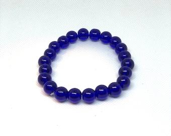 """Blue Bracelet, Blue Glass Bracelet, Size 8"""", Stretch Bracelet, Stacking Bracelet, Statement Bracelet"""