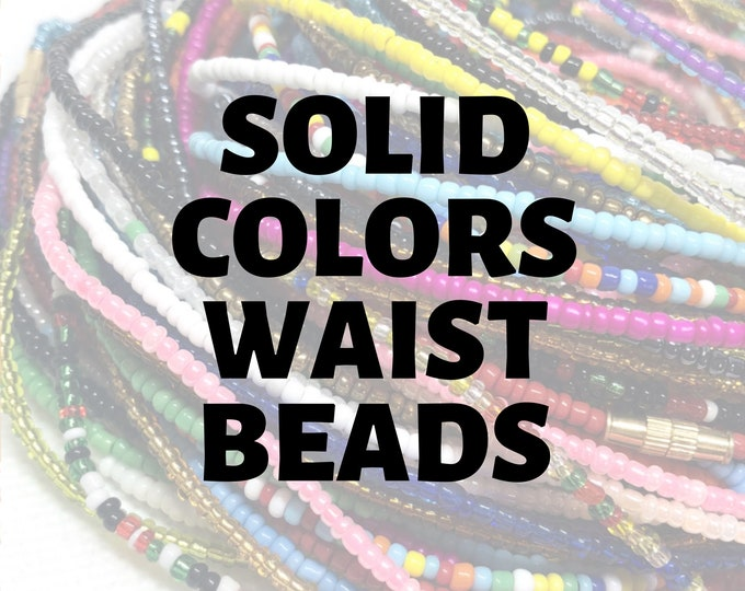 Featured listing image: SOLID COLORS Traditional Screw On Waist Beads, Waist Beads, Belly Beads, Slimming Beads, Weightloss Tracker, Feminine Jewelry, Waist Shaper