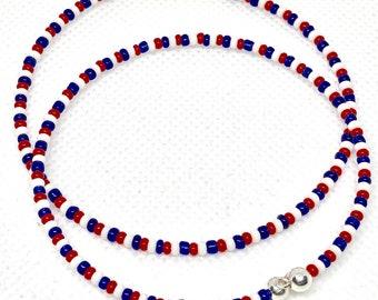 Red, White & Blue Wrap Bracelet, Haiti Bracelet, Spring Bracelet, Flag Bracelet, Gold, Silver
