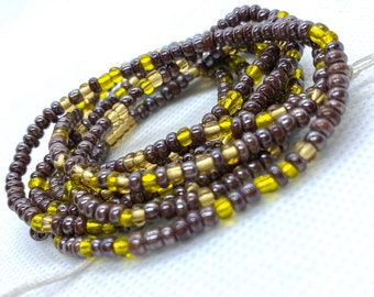 Brown and Yellow Tie On Waist Beads, Waist Beads, Belly Beads, Belly Chain, Body Jewelry