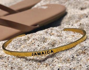 Jamaica Cuff Bracelet Gold, Unisex Bracelet, His or Hers, Jamaica Souvenir, Gold Bracelet, Jamaica Bracelet, Kingston, Engraved Bracelet