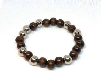 "Brown and Silver Bracelet Size 8"", Brown Wood Beads"