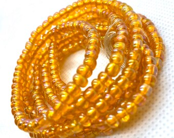 Jumbo Iridescent Orange Tie On Waist Beads, Waist Beads, Belly Beads, Belly Chain, Body Jewelry