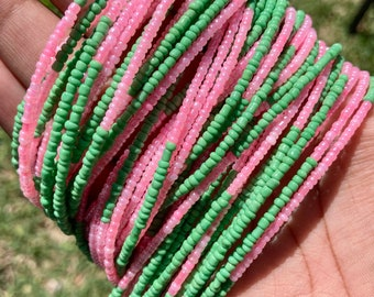 Pink & Green Color Block AKA Removable Screw On Waist Beads