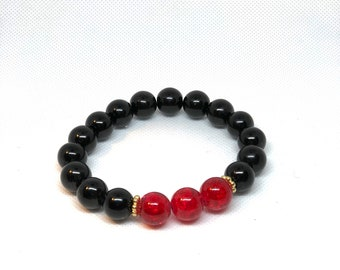 Red and Black Bracelet with Gold Accent