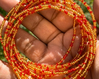 Red and Gold 10 Beaded Bracelet Set
