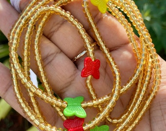 Gold & Colorful Butterflies Tie On Waist Beads