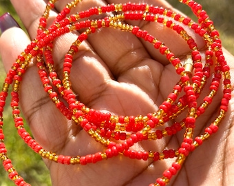 Red and Gold Traditional Screw On Waist Beads