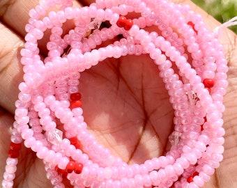 """Valentine's Day Tie On Waist Beads 50"""", African Waist Beads, Belly Beads, African Jewelry, Body Jewelry"""