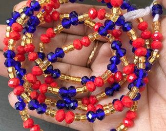 Red and Blue Crystals Tie On Waist Beads