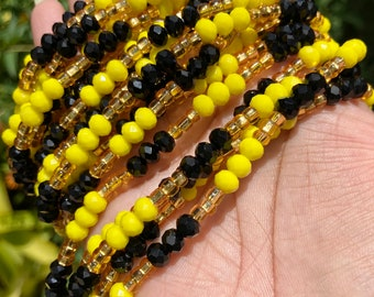 Yellow & Black Crystals Tie On Waist Beads