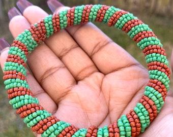 Green and Brown African Maasai Bracelet