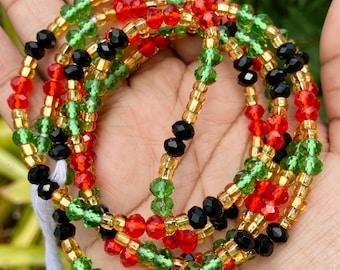 Rasta Crystals Tie On Waist Beads
