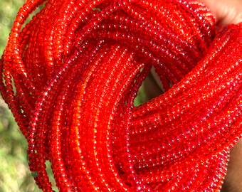 Glass Red Removable Screw On Waist Beads