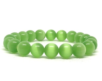 Green Cat's Eye Bracelet, Cat's Eye Bracelet, Green Bracelet, His or Hers, Stretch Bracelet, Statement Bracelet