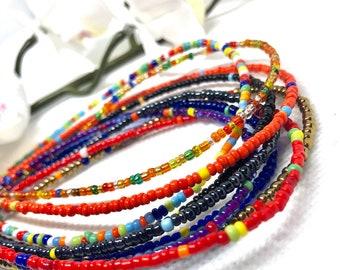 RAINBOW MIXES Traditional Screw On Waist Beads, African Waist Beads, Belly Beads, Weightloss Tracker, Feminine Jewelry, Waist Shaper