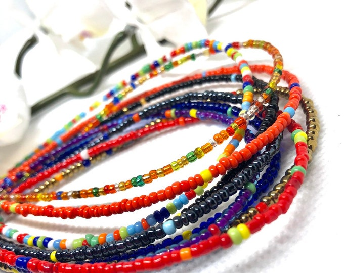 Featured listing image: RAINBOW MIXES Traditional Screw On Waist Beads, African Waist Beads, Belly Beads, Weightloss Tracker, Feminine Jewelry, Waist Shaper