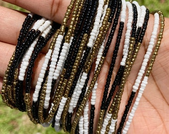 White, Black & Bronze Color Block Traditional Screw On Waist Beads