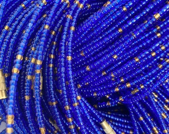 Navy Blue & Gold Mix Removable Screw On Waist Beads