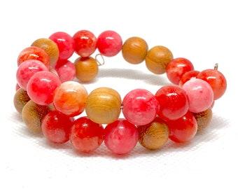 Coral & Brown Wrap Bracelet, Spring Bracelet