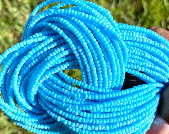 Featured listing image: Baby Blue Traditional Screw On Waist Beads, African Waist Beads, Belly Beads, African Jewelry, Body Jewelry