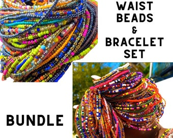 BUNDLE DEAL 3 Tie On Waist Beads & One Set of Bracelets