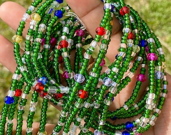 Green & Crystals Tie On Waist Beads, Waist Beads for Weight Loss, African Jewelry