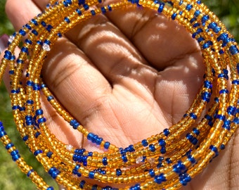 Blue and Gold 10 Beaded Bracelet Set