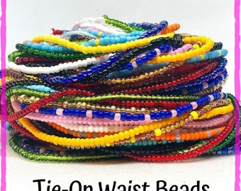 Solid Color Traditional Tie On Waist Beads, Waist Beads, Belly Beads, Belly Chain, Body Jewelry, African Waist Beads