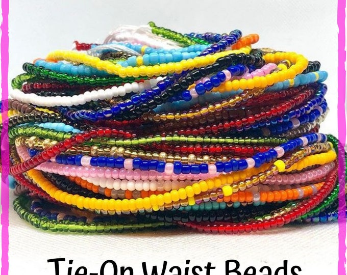 Featured listing image: Solid Color Traditional Tie On Waist Beads, Waist Beads, Belly Beads, Belly Chain, Body Jewelry, African Waist Beads
