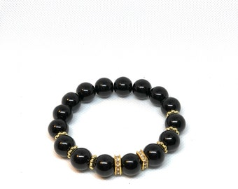 "Black & Gold Bracelet, Size 8"", Protection Bracelet"