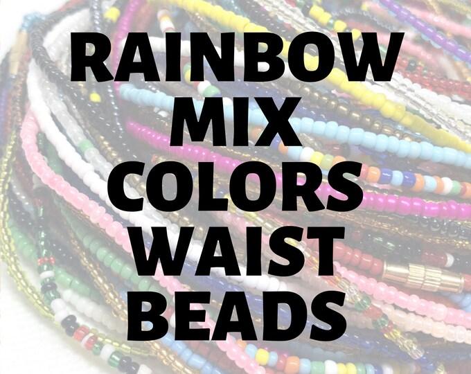 Featured listing image: RAINBOW MIXES Traditional Screw On Waist Beads, Waist Beads, Belly Beads, Slimming Beads, Weightloss Tracker, Feminine Jewelry, Waist Shaper