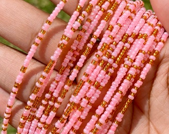 Pink & Gold Removable Screw On Waist Beads