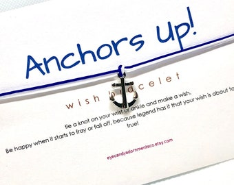 Anchors Up Wish Bracelet, Navy Jewelry, Sailor Jewelry, Military Jewelry, Wish Bracelet, Inspiration Bracelet,Anchor Bracelet, Navy Birthday