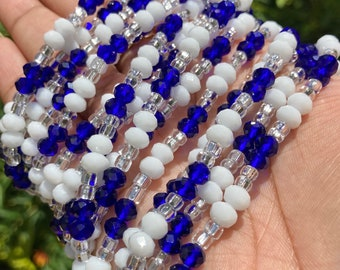 White and Blue Crystals Tie On Waist Beads