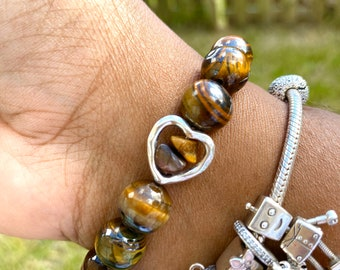 Tiger Eye Beaded Bracelet with Heart Filled with Tiger Eye Chips