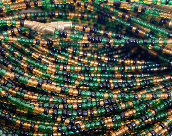 Black, Green & Gold Mix Removable Screw On Waist Beads