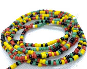 Rasta Tie On Waist Beads, Waist Beads, Belly Beads, Belly Chain, Body Jewelry