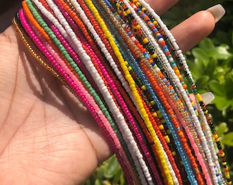 Two Strands Assorted Colors Grab Bag Traditional Screw On Waist Beads, African Waist Beads, Belly Beads, African Jewelry, Body Jewelry