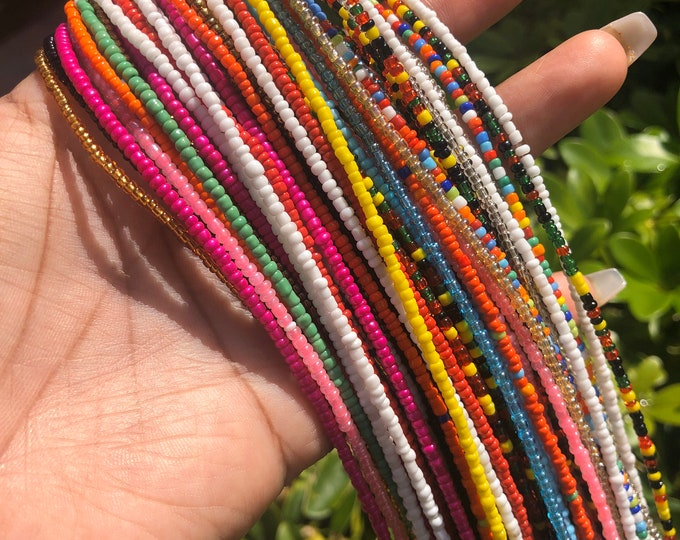 Featured listing image: Two Strands Assorted Colors Grab Bag Traditional Screw On Waist Beads, African Waist Beads, Belly Beads, African Jewelry, Body Jewelry
