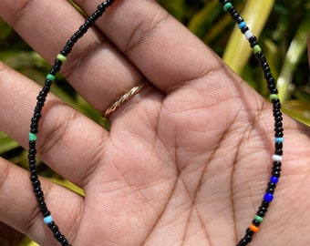 Black with Rainbow Screw on Anklet or Bracelet