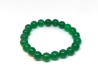 "Green Aventurine Bracelet, Size 8"", Green Bracelet, Aventurine Bracelet, Stretch Bracelet, Gift for Him"