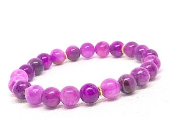 Purple Mixed Dyed Quartzite Bracelet